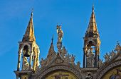 Artistic details at the top of San Marco cathedral in Venice
