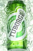 Tuborg beer in splashed water