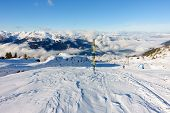 Ski slopes in the mountains of the Zillertal