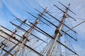 Masts of the old sailing ship