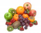 Juicy Fresh Fruits Isolated On White Background