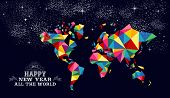 New Year 2015 World Map Card