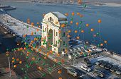 Irkutsk,RU-Nov.12,2014:Balloons on the background of the Moscow Gates Sberbank Birthd in Nov12,2014