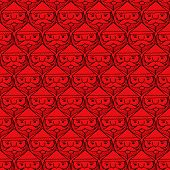 Christmas Santa Claus Faces Monotone Seamless Pattern