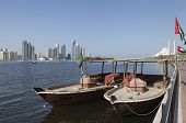 Abra boat overlooking the Khalid Lagoon. Sharjah. United Arab Emirates