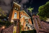 TAIPEI, TAIWAN - November 21th : Chapel of Presbyterian Church Danshuei at night in Tamsui, Taiwan on November 21th, 2014.
