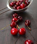 Fresh Cherries On Table