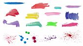 Watercolor vector brush strokes and spray set