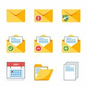 Flat Style Icon Set For Web And Mobile Application. Basic Icons Mail, Document, Folder, Calendar