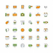 Computer And Technology Flat Design Icon Set. Mobile Phone, Printer, Computer, Keyboard, Router