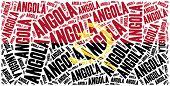 National Flag Of Angola. Word Cloud Illustration.