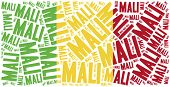 National Flag Of Mali. Word Cloud Illustration.