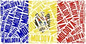 National Flag Of Moldova. Word Cloud Illustration.