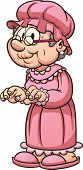 Cartoon grandma wearing pajamas. Vector clip art illustration with simple gradients. All in a single layer.