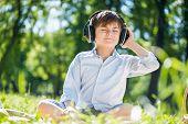 Boy enjoying music
