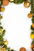 Christmas Decoration With Yellow Ornamentals And Green Fir Tree On White
