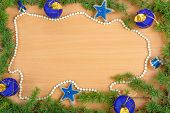 Wonderful Christmas Decoration With Fir Tree , Blue Ornamentals And White Pearl Necklace