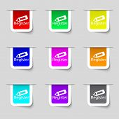 Register Sign Icon. Membership Symbol. Website Navigation. Set Of Colored Buttons. Vector