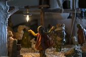 picture of nativity scene  - Representation of the Christmas Nativity Scene with ceramic statuettes - JPG