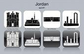 Landmarks of Jordan. Set of monochrome icons. Editable vector illustration.