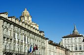 stock photo of turin  - Italian Architecture Building in Piazza Castello in Turin - JPG
