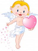 Illustration of Cute Cupid gives a heart