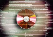 One cd disc on red digital background
