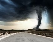 picture of lightning  - Powerful tornado and lightning above countryside road - JPG