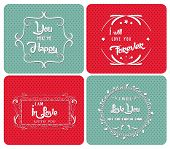 Valentine Day poster.Typography ornaments