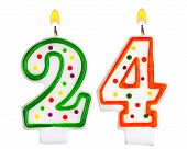 stock photo of 24th  - Birthday candles number twenty four isolated on white background - JPG