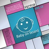 Baby On Board Icon Symbol Flat Modern Web Design With Long Shadow And Space For Your Text. Vector