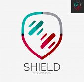 Minimal line design logo, business shield icon, branding emblem