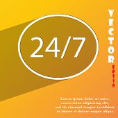 24 Hours A Day And 7 Days A Week Icon Symbol Flat Modern Web Design With Long Shadow