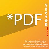 Pdf File Extension Icon Symbol Flat Modern Web Design With Long Shadow And Space For Your Text. Vect