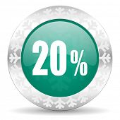 20 percent green icon, christmas button, sale sign