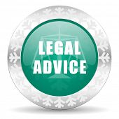 legal advice green icon, christmas button, law sign