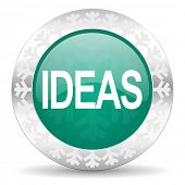 ideas green icon, christmas button