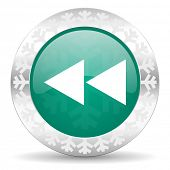 rewind green icon, christmas button