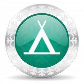 camp green icon, christmas button
