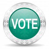 vote green icon, christmas button