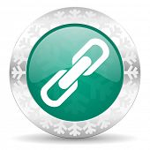 link green icon, christmas button, chain sign