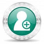 add contact green icon, christmas button