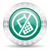 no phone green icon, christmas button, no calls sign