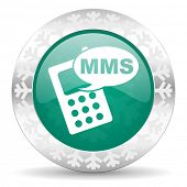 mms green icon, christmas button, phone sign