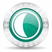 moon green icon, christmas button, sleep sign