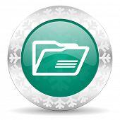 folder green icon, christmas button