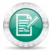 subscribe green icon, christmas button, write sign