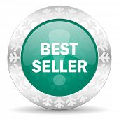 best seller green icon, christmas button