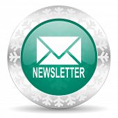 newsletter green icon, christmas button