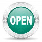 open green icon, christmas button